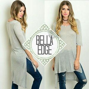 Bella Edge Tops - Gray high low slub long duster tunic