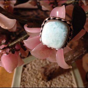 Vintage 925 natural Larimar ring