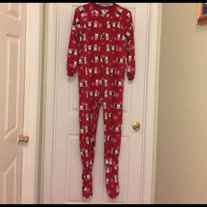 Ladies Red Footie Penguin PJs - size medium