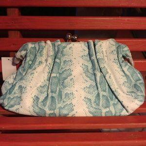 Aqua Blue Snakeskin Clutch/Shoulder Handbag