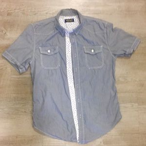 Zara Youth Short Sleeve Chambray Button Down Med