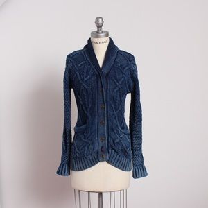 Faherty Sweaters - Indigo Dyed Cable Knit Sweater