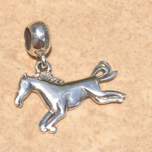 Sterling Silver 925 Galloping Horse Charm Bead