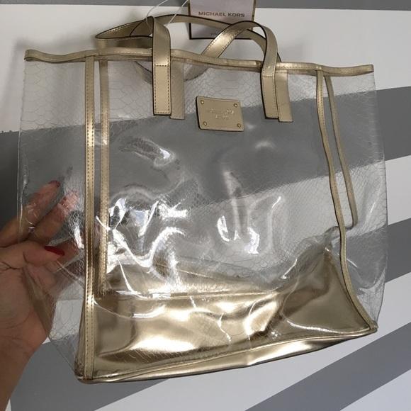 c8933347ab91 Michael Kors Bags | Clear And Gold Travel Tote Beachbag | Poshmark