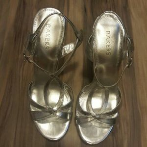 Bakers Shoes - Bakers Silver Metallic Heels
