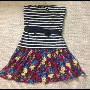 Zara Dresses & Skirts - Zara striped and floral strapless dress