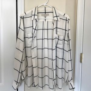 LOFT grid panel button up blouse M