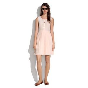 Madewell blush pleated silk dress 8