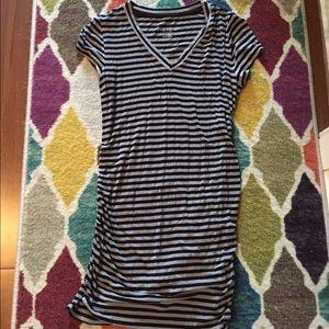 Gray and black striped Liz Lange maternity tunic