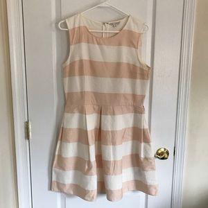 GAP blush white striped dress size 8