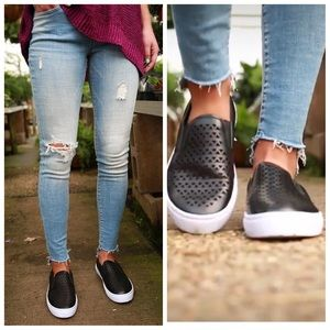 Black Triangle Perforated low top slip on sneaker