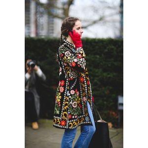 Anthropologie Jackets & Coats - BIYA - Hand Embroidered Vintage Silk Coat