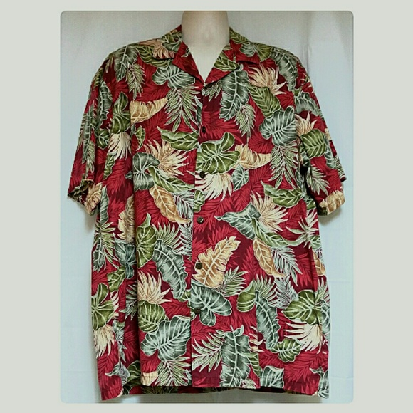 84ffbb7b Hilo Hattie Other - Men's Hilo Hattie Red Hawaiian Shirt Monstera Leaf
