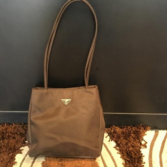 b42fee9712 Prada Milano brown nylon shoulder bag purse