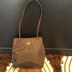 Prada Milano brown nylon shoulder bag purse