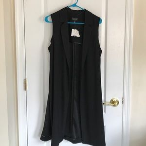 Topshop black long vest size 6