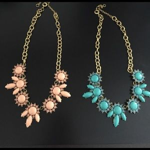 Pink and blue statement necklaces
