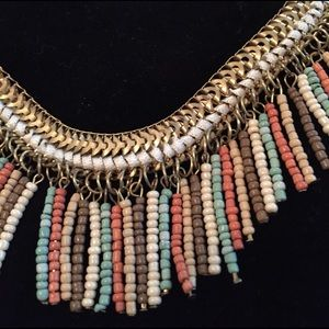 Coral, mint and tan fringe necklace