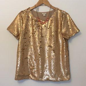 J. Crew Factory Tops - J. Crew Factory | Gold Sequin Blouse