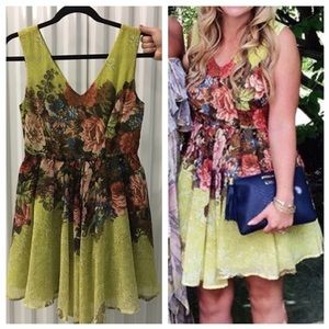Darling Chartreuse Floral & Snakeskin Skater Dress