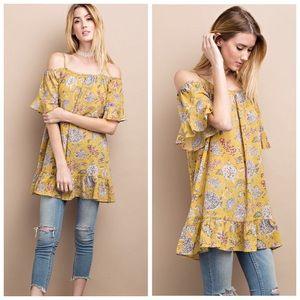 Mustard Floral Off Shoulder Loose Fit Tunic S M L