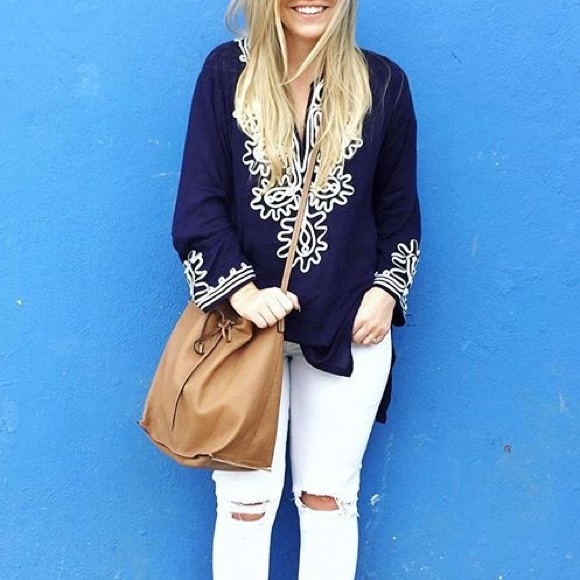Tops - MOVING SALE❗️Navy + White Ribbon Embellished Tunic