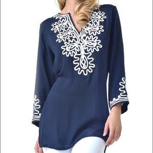 MOVING SALE❗️Navy + White Ribbon Embellished Tunic