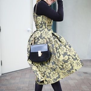 Gold Floral Brocade Midi Dress