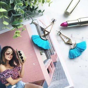 "Erica Rose Jewelry - ""Catalina"" Earrings || Turquoise Tassel Statement"