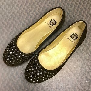 Yellow Box Shoes - Brown Suede Studded Flats