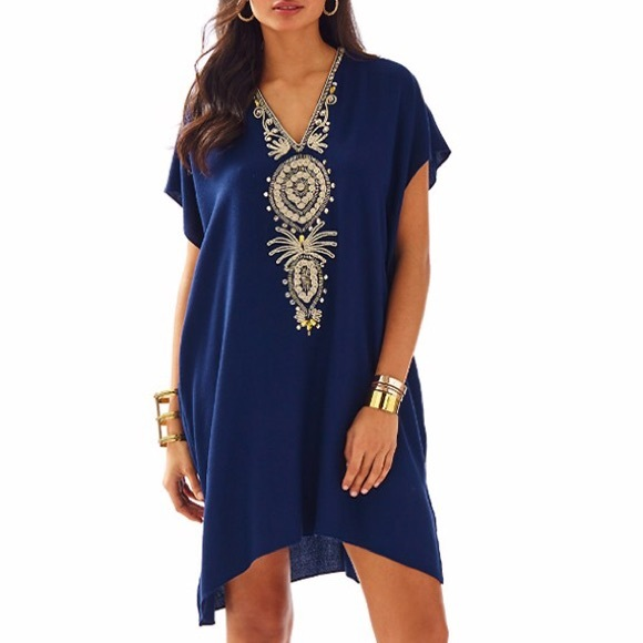 Lilly Pulitzer Dresses - Lilly Pulitzer Chai Caftan In True Navy