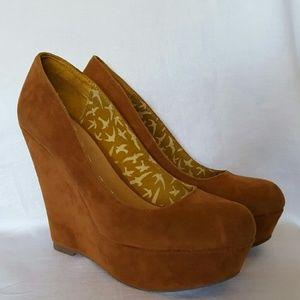 """Olsenboye Shoes - Olsenboye 5 1/2"""" heel swede wedges. Size 10."""