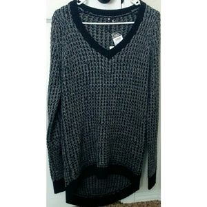 Sz L cable knit sweater dress grey and black