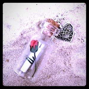 Jewelry - Valentine's Day Rose & message in bottle Necklace