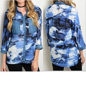 Tops - ✅FLASHSALE Funky Abstract Denim Button Down Shirt