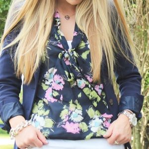 Everly Tops - Everly Navy Floral Pussybow Blouse