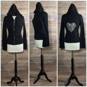 TWISTED HEART Jackets & Blazers - {Twisted Heart} 'Heart of Lace' Embellished Hoodie