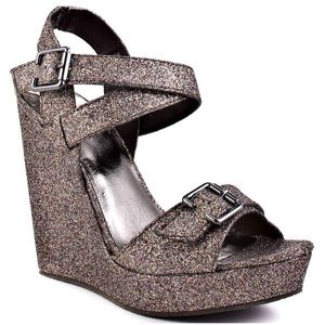 Not Rated Shoes - Not Rated Metallic Glitter Wedge Sandals! NWT!