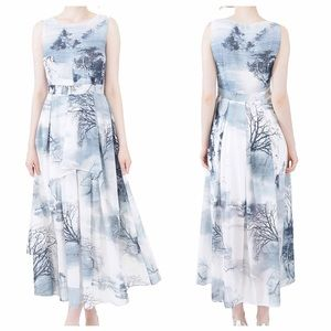 Dresses & Skirts - Woodsy Whimsical Green/Blue Tiered Maxi Dress