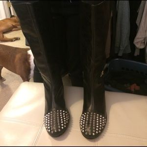 Black leather spiky studded boots