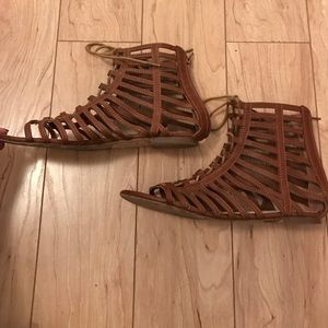 Brown Gladiator Lace Up Sandals