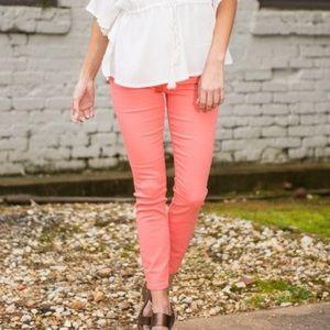 refuge Pants - Coral Stretch Skinny Jeans