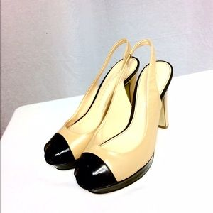Marc Fisher Shoes - Marc Fisher Tan/Black Leather Peep-Toe Pumps (5M)