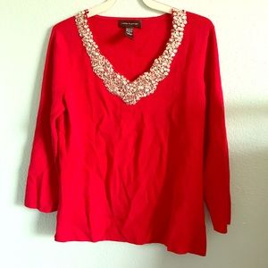 Cable & Gauge Sweaters - Red rhinestoned sweater