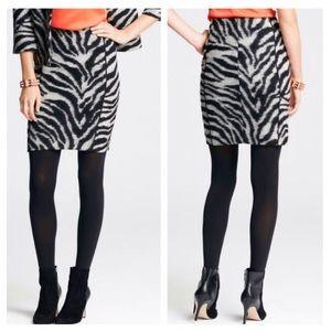 Ann Taylor Zebra Print Wool Jacquard Skirt 0P