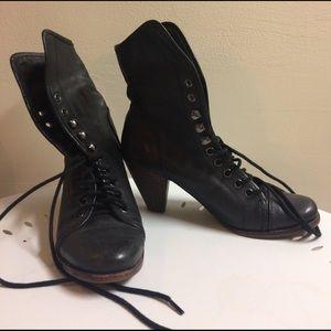 Jeffrey Campbell Black Loggins Lace Up Boots