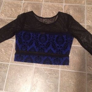 Sparkle & Fade Tops - Black mesh crop top with blue details