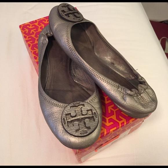 d00893483776 Tory Burch Pewter Reva-Metallic Flat. M 589ba3d9fbf6f96ec401be5a. Other  Shoes ...