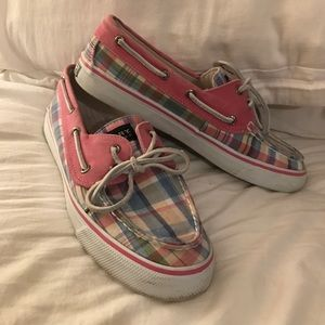 Pink Plaid Sperry Topsider Shoes