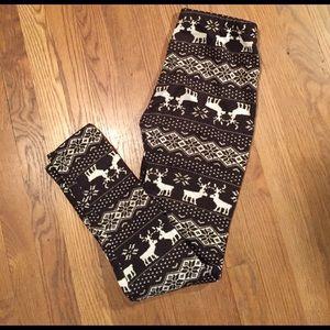 Fleece leggings (reindeer &snowflake print)